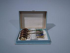 8 Norwegian Sterling Silver Enamel Demitasse Spoons