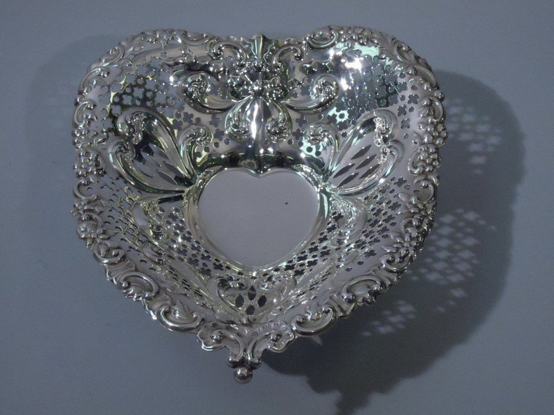 Large Gorham American Sterling Silver Heart Bowl 1895