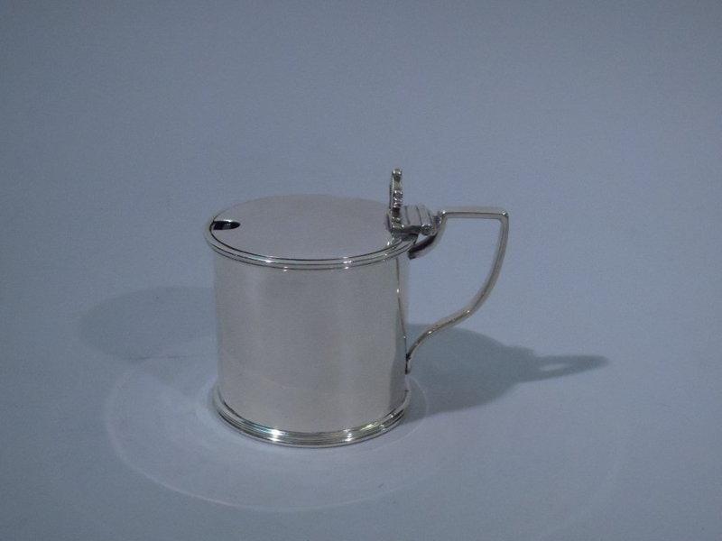 Edwardian English London Sterling Silver Mustard Pot