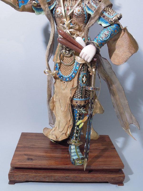 Chinese Gilt Silver Enamel Figure Liang Hongyu C 1920