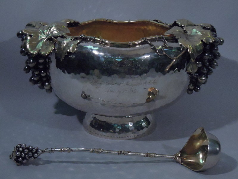 Gorham Sterling Silver Punch Bowl w/ Ladle 1881