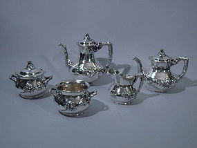 Gorham Sterling Silver Japanese Tea Coffee Set 1905