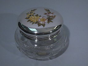 English London Sterling Silver & Enamel Glass Powder Jar 1919