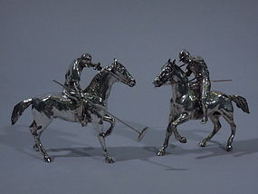 Pair of German 800 Silver Polo Players C 1910