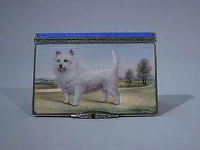 Austrian Silver Box with Enameled Westie Dog C 1910