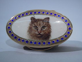 Italian Gilt Silver Pill Box with Enameled Cat C 1950