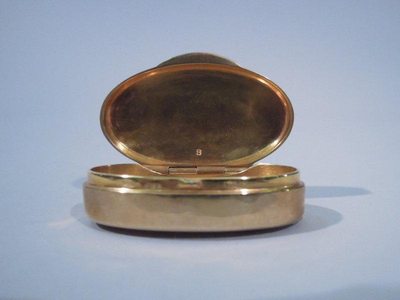 Italian Gilt Silver Pill Box with Enameled Cat C 1950