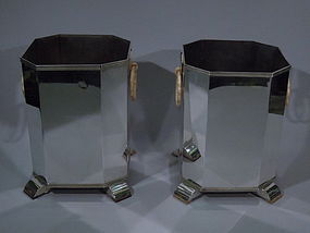 Pair of Art Deco-Style Silver Wine Coolers
