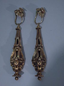 Pair Georgian Neoclassical Gold Earrings C 1830