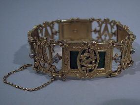 Art Nouveau Gold Enamel Bracelet by Lucien Gautrait