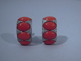 Pair Modern Diamond Platinum Coral Earrings C 1980