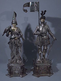 Pair German Medieval Knight Lady Figures C 1920