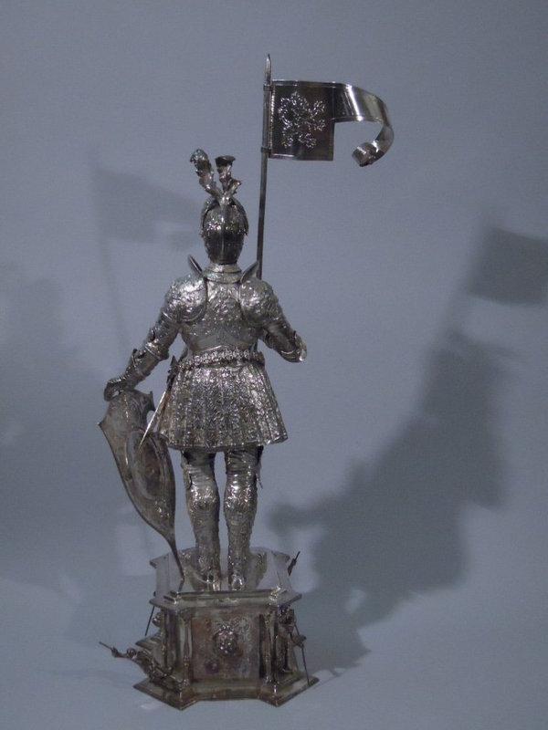 Pair German Medieval Knight Lady Figures C 1920