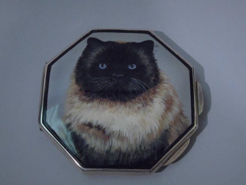 English Birmingham Sterling Silver Enamel Cat Compact