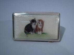 Austrian 800 Silver Enamel Cigarette Case with Cats