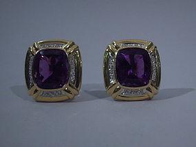 Pair American Diamond and Amethyst Earrings C 1960