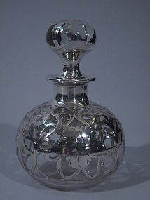American Clear Glass Silver Overlay Perfume Bottle