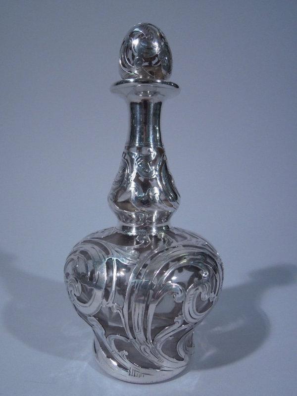 Alvin Silver Overlay Glass Perfume Bottle C 1890