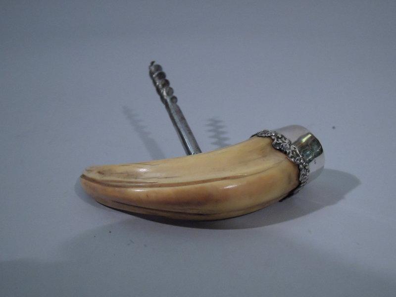 Sterling Silver and Boar Tusk Corkscrew C 1900