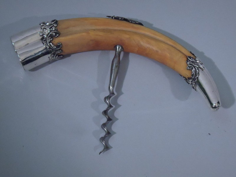 Large Sterling Silver and Boar Tusk Corkscrew C 1900
