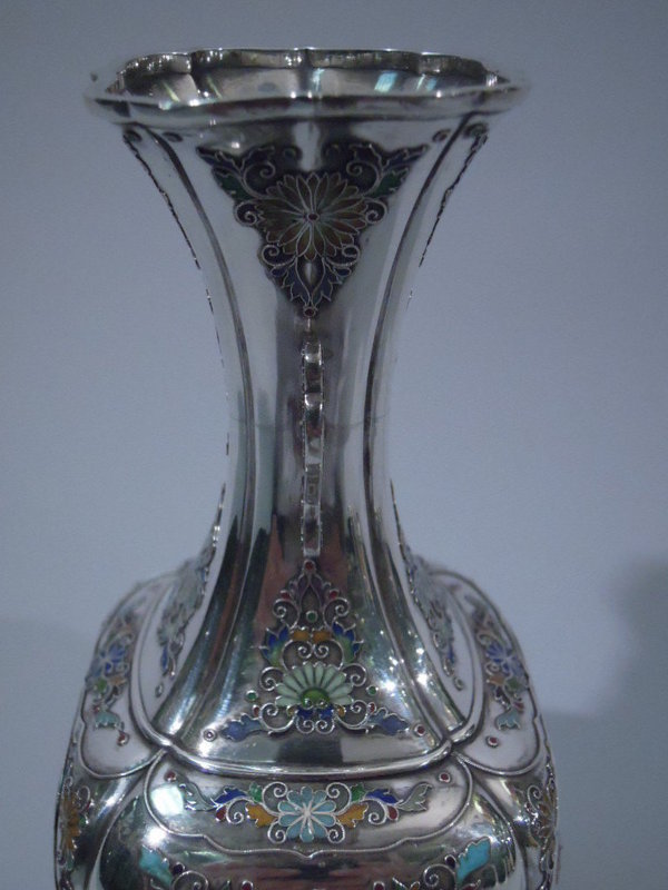 Japanese Enameled-Silver and Shibayama Vase C 1890