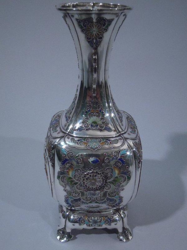 Japanese Enameled-Silver and Shibayama Vase C 1890