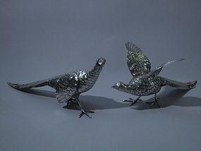 Pair of German 800 Silver Pheasants C 1900
