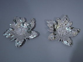 Pair Blackinton Sterling Silver Maple Leaves C 1920