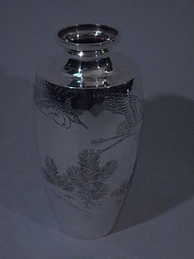 Antique Japanese Silver Vase with Cranes