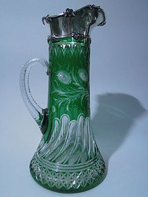 Gorham Sterling Silver and Green Glass Claret Jug 1897