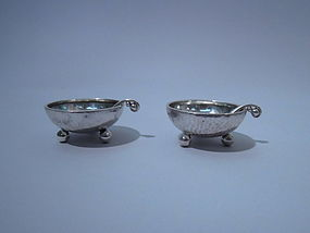 Pair of Georg Jensen Sterling Silver Open Salts C 1920