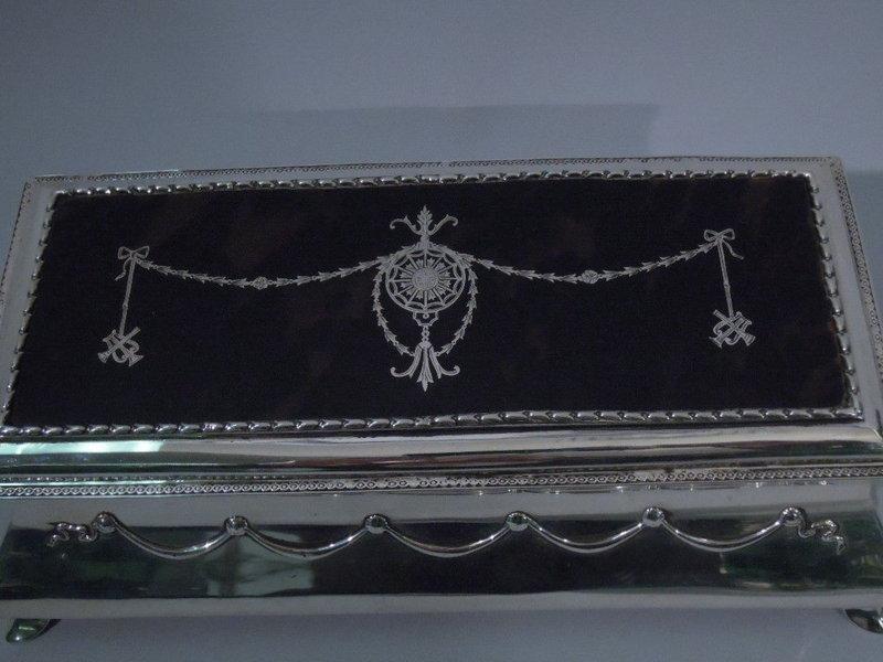 Edwardian English Jewelry Box - Silver & Tortoise Shell
