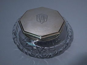 Art Deco Sterling Silver And Glass Powder Jar