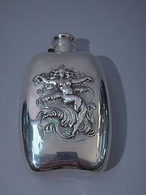 Unger Bros Sterling Silver Wave Flask C 1900