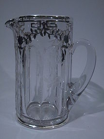 Clear Glass Silver Overlay Water Pitcher C 1915