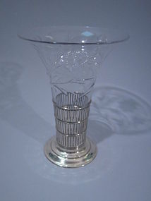 International Clear Glass Vase in Sterling Silver Stand