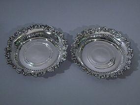 Pair of American Sterling Silver Wine Coasters C 1910