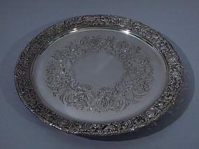 Edwardian English Sterling Silver Salver Tray 1903