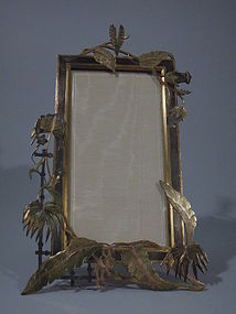 Unusual Bronze Frame with Exotic Fronds C 1910