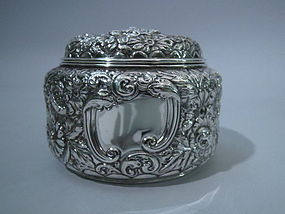 Gorham Sterling Silver Repousse Powder Box 1895