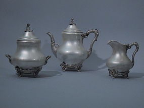 Early Gorham & Thurber Coin Silver Tea Set C 1850