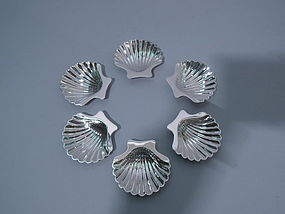 6 Sterling Silver Scallop Shell Nut Dishes C 1950