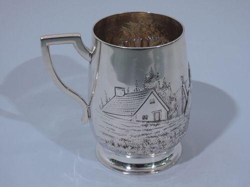 Edwardian English Mug with Rustic Scene 1907