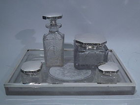 Hawkes Sterling Silver & Cut Glass Vanity Set C 1910