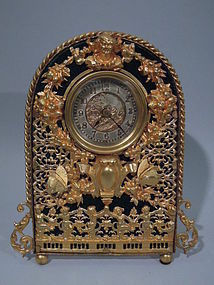 Art Nouveau Gilt Bronze Clock with Butterflies  C 1900