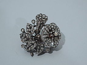 Victorian Floral Brooch with Rose Cut Diamonds C 1860