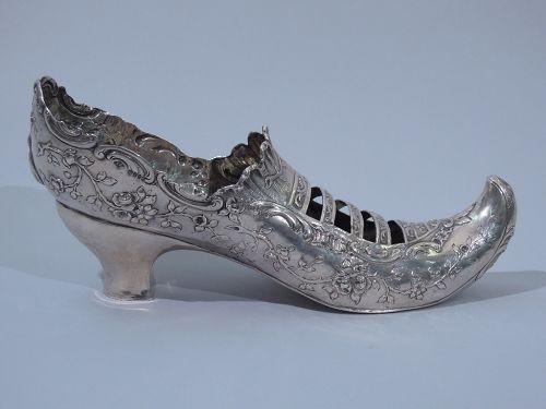 German Sterling Silver Lady's Shoe C 1902
