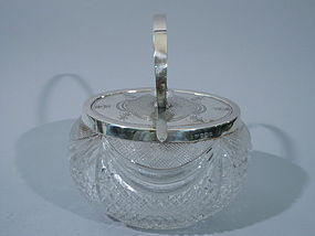Edwardian English Cut Glass and Silver Biscuit Jar 1905