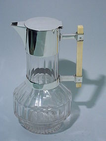 Christopher Dresser Decanter - English Sterling Silver & Glass 1882