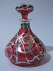 American Silver Overlay Cranberry Glass Perfume Bottle